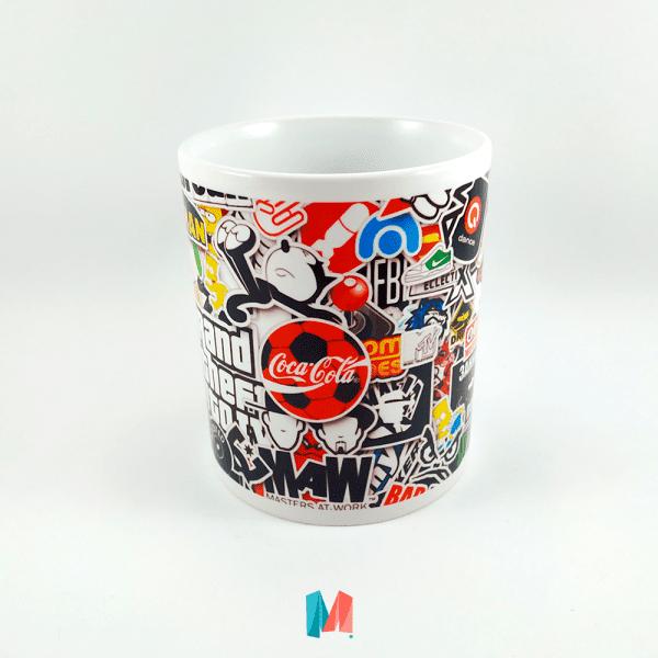 Marcas, mug personalizado con collage de marcas