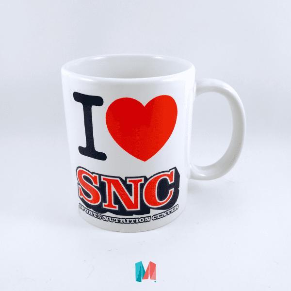 Marca, mug corporativo personalizado con marca SNC