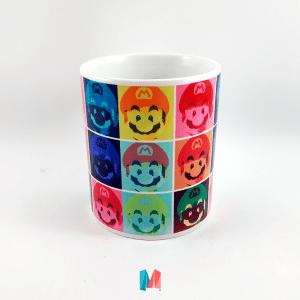 Mario bros, mug personalizado con mosaico de caritas de mario