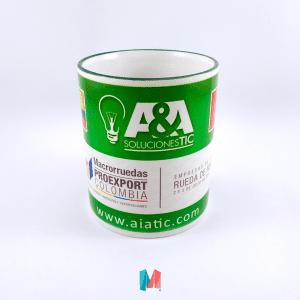A&A, mug corporativo personalizado con logo de la marca A&A Soluciones