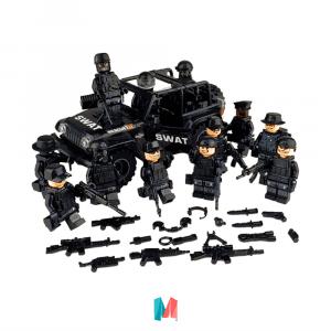 Lego, set de personajes Lego swat en Jeep
